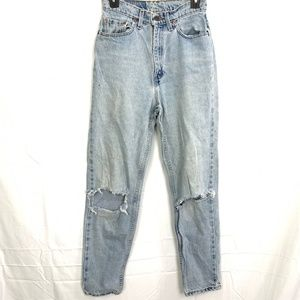 LEVI'S Vintage 512 TAPERED FIT & LEG Distressed High Rise Jeans 1990's Mom sz 8